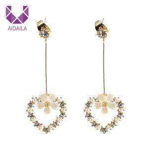 AIDAILA Fashion Chic Gold Plated Acrylic Flower Rhinestone Alloy Heart Dangle Stud Earrings For Women