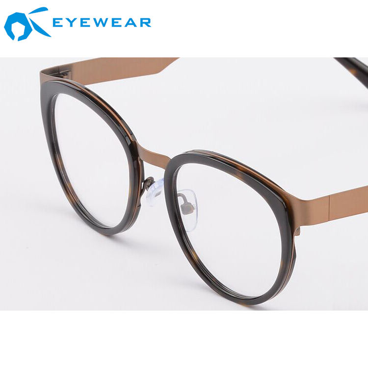 Wholesale Novelty Combination Metal Acetate Eyeglasses Brand Name China Eyewear Korean Optical Frame