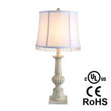 Traditional Antique White Poly Table Lamp With fabric shade