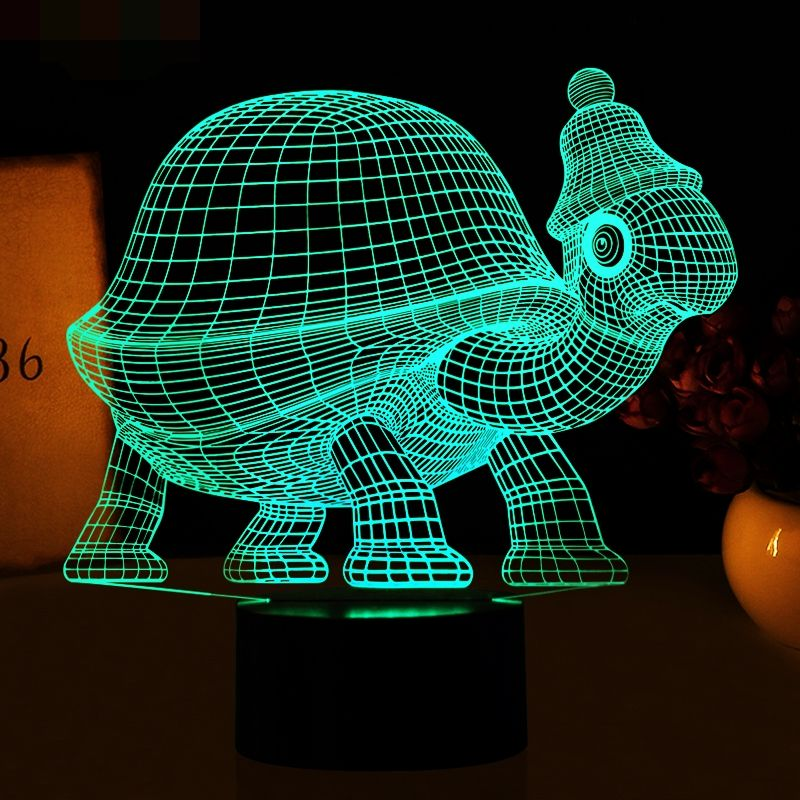 Tortoise 3D Lamp Remote Touch Animal Sea Turtles LED Table Lamp 7 Color Changing USB Indoor Atmosphere Lamp 3D Night Light Gifts