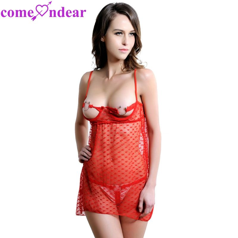 Hot Red Lace Girls Midnight Honeymoon Transparent Sexy Nighty Wear