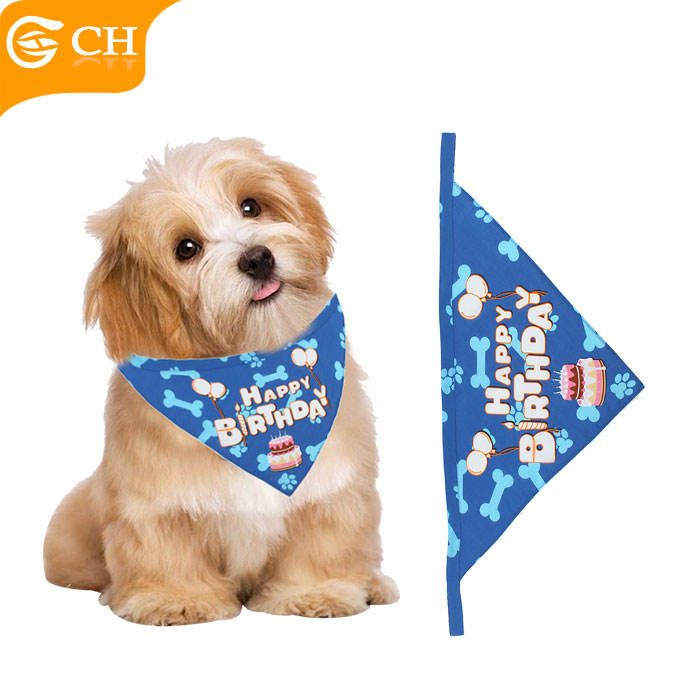 Custom Fashion Cotton Printed Blue Birthday Triangular Bandana For Pet Dogs