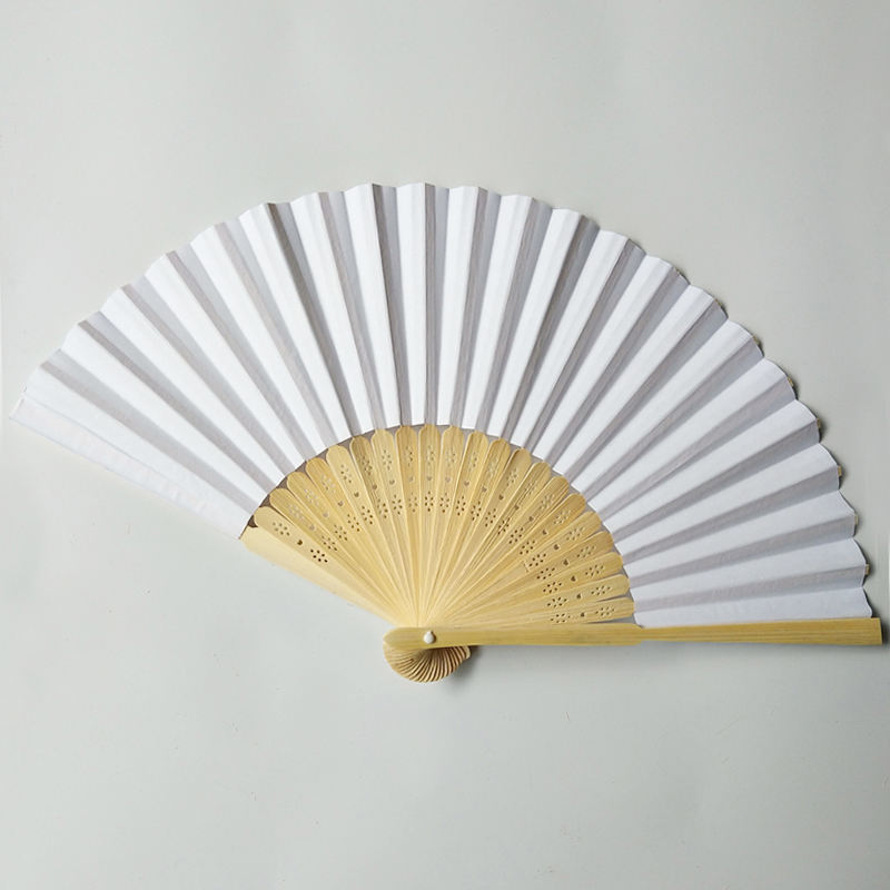 21cm Blank White Bamboo Paper Fan Wedding Favor Promotional Fan