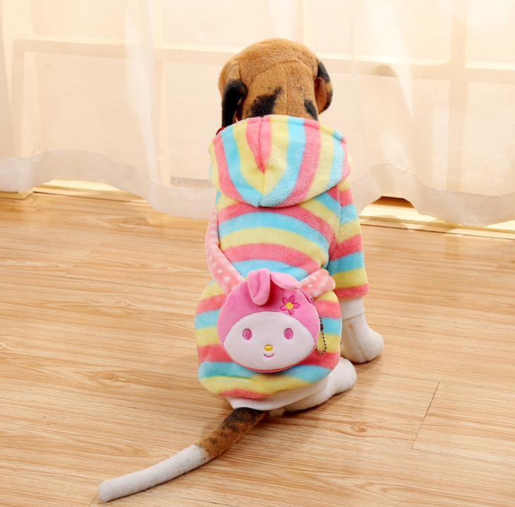 China factory produce dog hoodies Winter pet products rainbow strip pet clothes