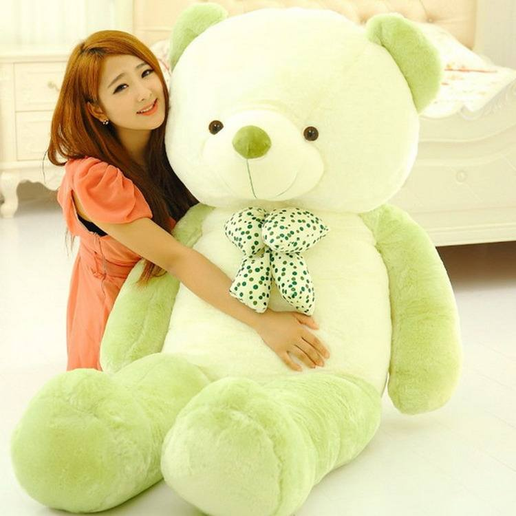 new style purple fruit green plush stuffed gift teddy bear with bow-knot toy doll