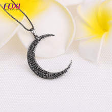 Bling bling crystal micro pave zirconia moon pendant