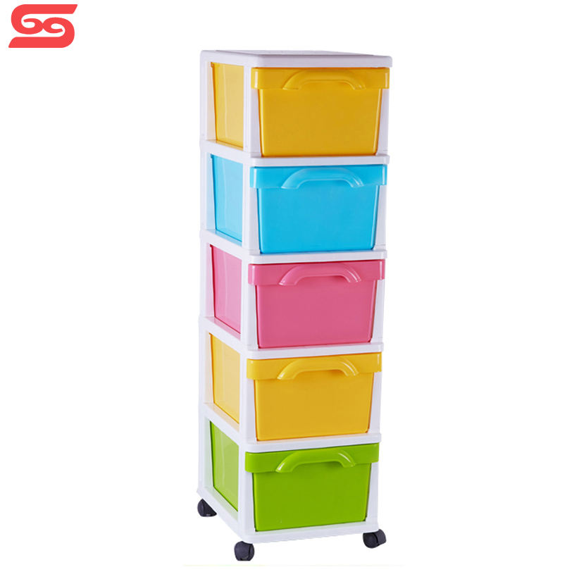 living room multi-colored storage clothes plastic drawer cabinet with wheel