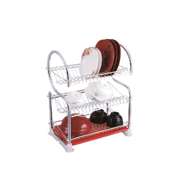 Chrome Plated 3 Tiers Dish Drain Rack with Drip Tray