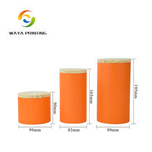 Biodegradable cardboard paper tube with wooden lid