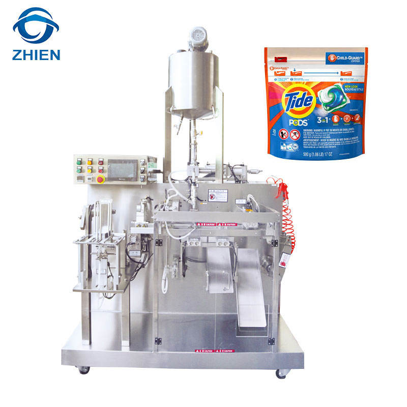 Automatic pre-made doypack bag liquid detergent/shampoo/shower gel filling packing machine