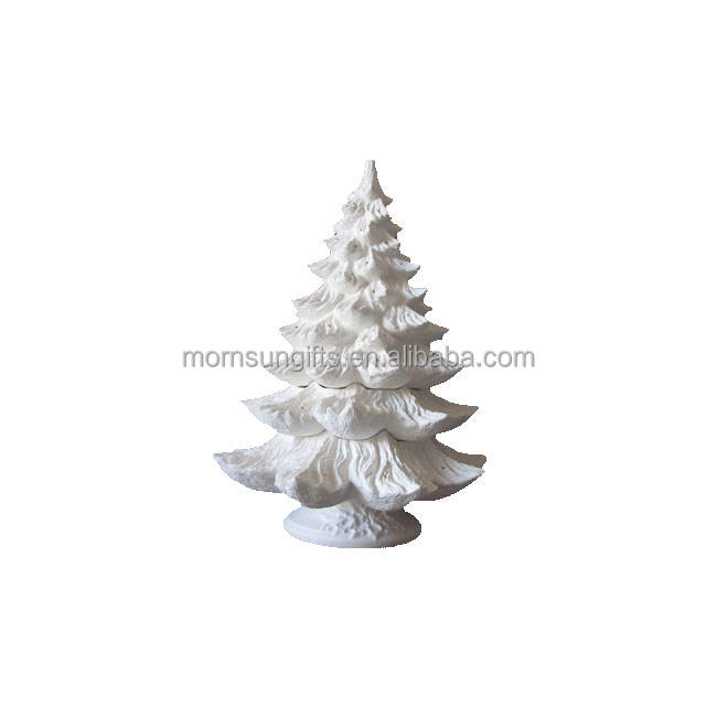 New hot sale new designed white christmas tree ceramic bisque