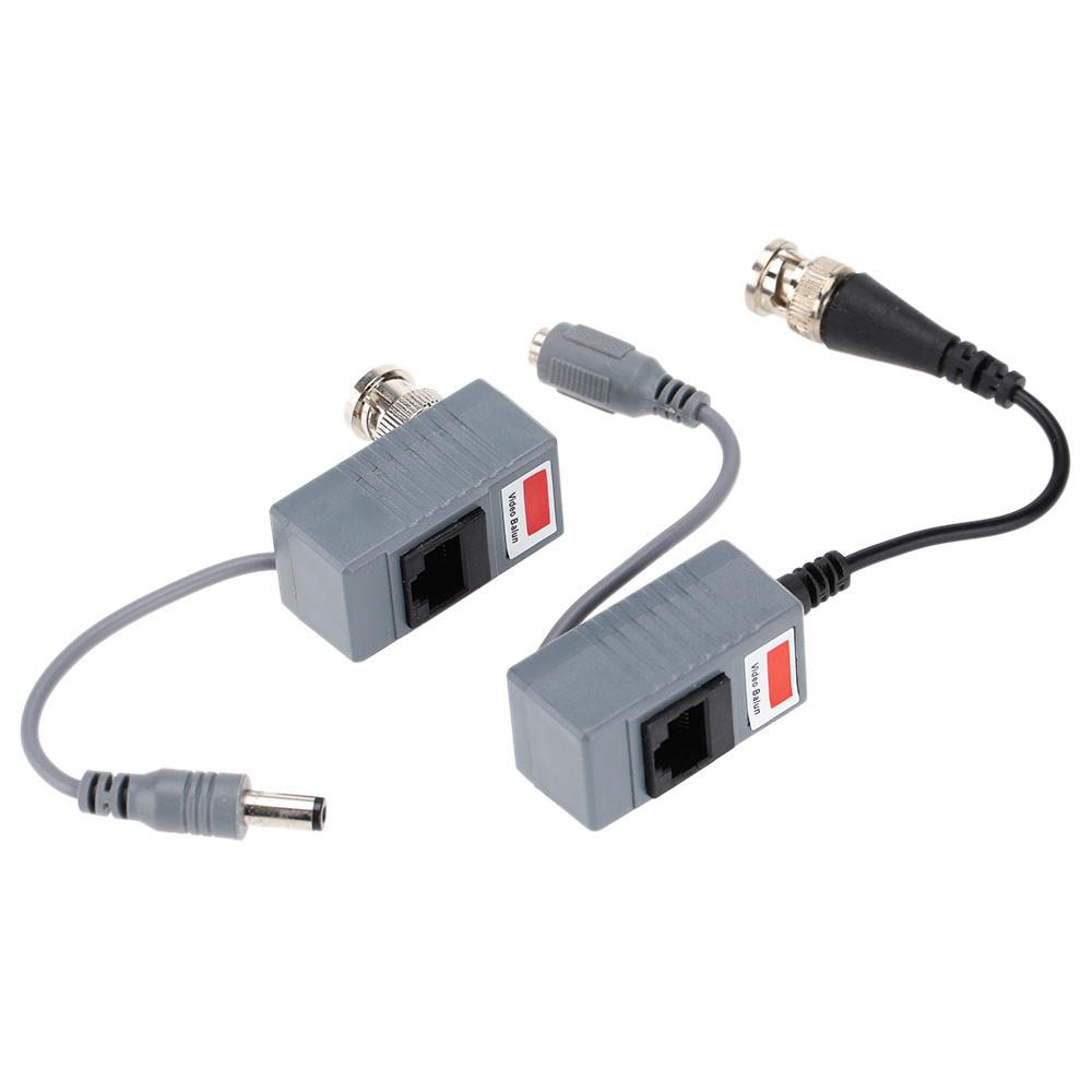 2pcs CCTV Camera Audio Video Balun Transceiver BNC UTP RJ45 Video Balun with Audio Video and Power over CAT5/5E/6 Cable