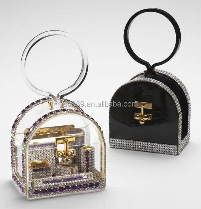 2016 hot sell clear acrylic clutch bag plastic transparent evening purse case box OEM factory