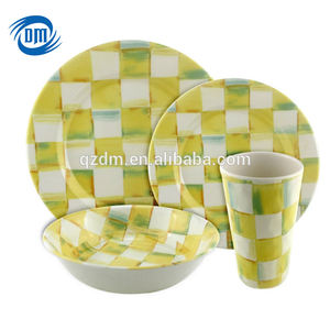 Camping 16pcs Melamine Dinner Set Plastic Plate and bowl and cup SET