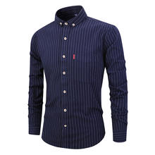 2019 Men Clothes Turn Down Collar Long Sleeves Cotton Striped Shirt for Business