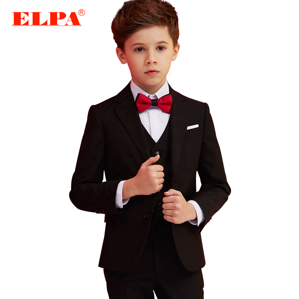 ELPA high quality black slim fit three piece boys dress formal coat pant suits