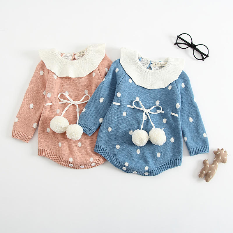 High Quality Autumn Winter Baby Rompers Sweater Dot Infant Bebes Knitted Overalls Baby Jumpsuit Toddler Baby Girls Clothings