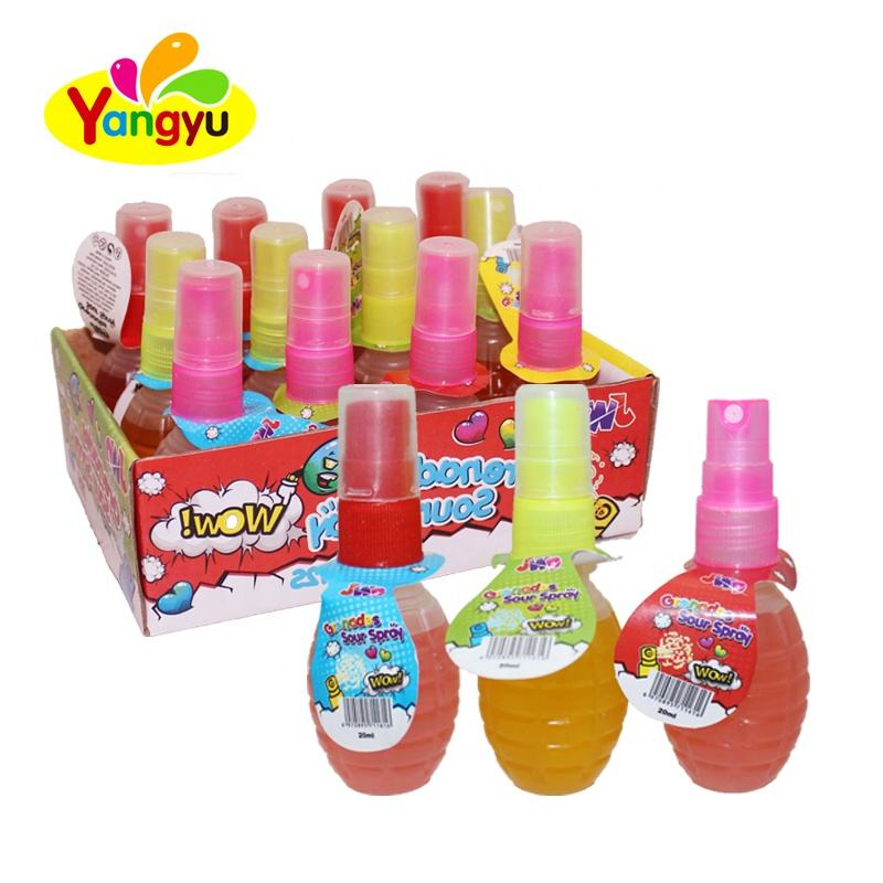 New Promotion Grenades Shaped Sour Spray Candy Fruity Flavors Liquid Candy
