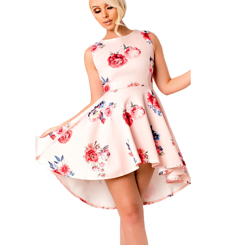 Nude Floral Dip Hem Skater Dress Sleeveless Summer Party Dress