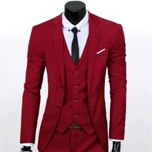 YSMARKET Fashion Business Casual Men Tops Suits 3 piece set (Jacket+Pants+Vest) Formal Wedding Suits Groom Male Blazer Slim Fit
