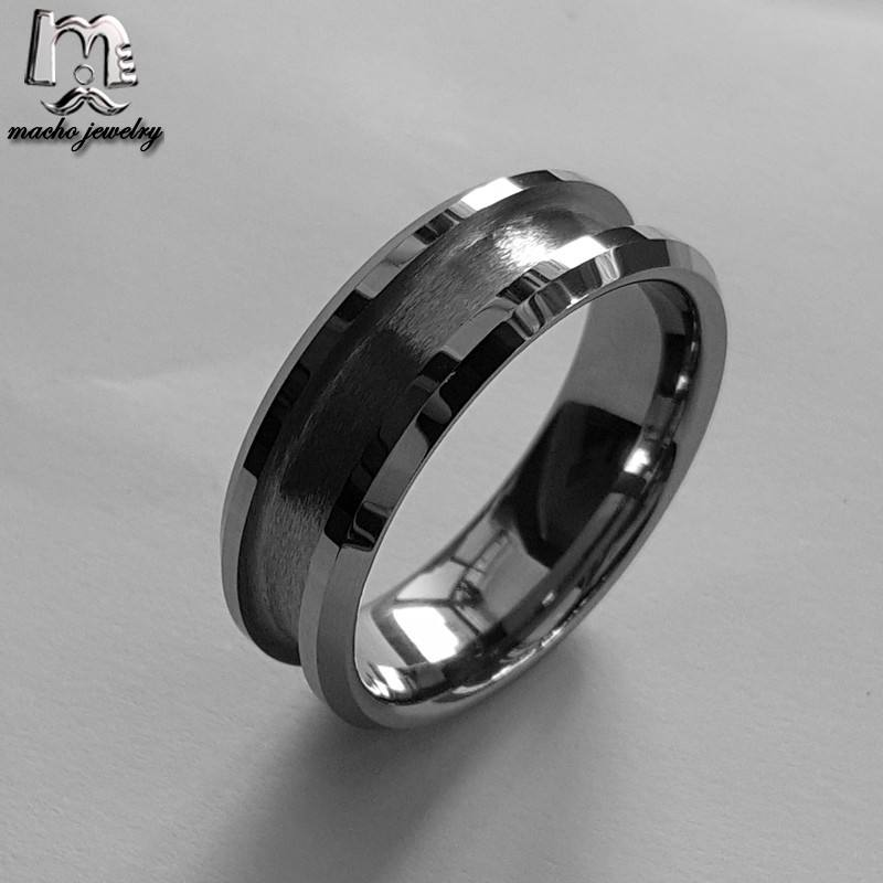 Wholesale Fashion DIY ring Tungsten carbide blank ring for inlays