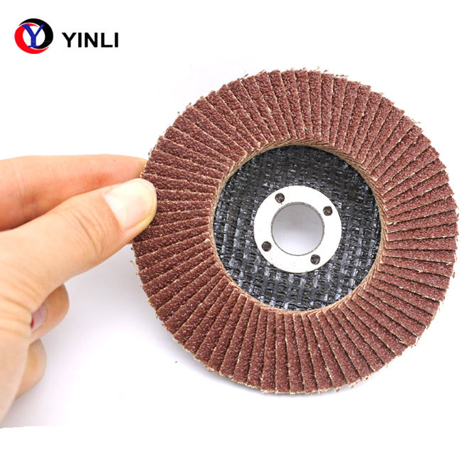 4 ''Grit 80 Rood Aluminiumoxide Flap Disc Met T27 Backing