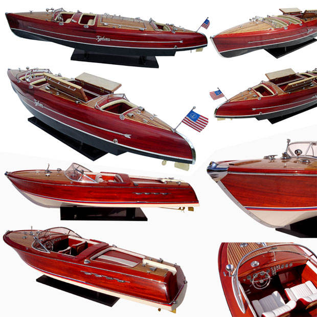 TYPHOON NATURAL WOOD FINISHED MODEL BOATS HANDICRAFT FOR SALE