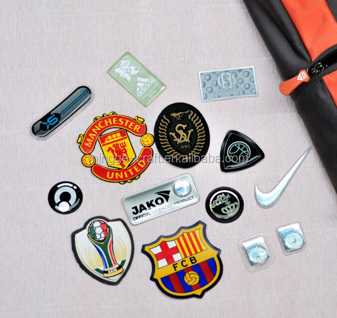 Factory make heat transfer rubber silicone badge with sewing line custom 3d clothing silicone garment labels