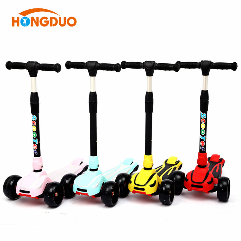 Dual color deck foot push balance kick scooter with folding system