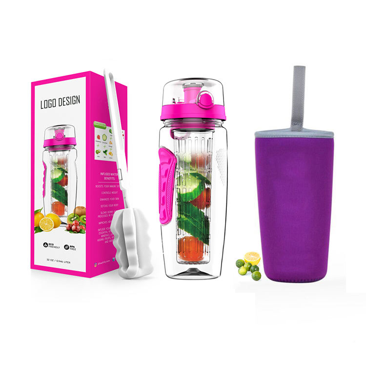 BPA Gratis Tritan Plastic Waterfles 32 oz met Lange Zetgroep Mand fruit infuser water fles met Mouw, cleaner Brush