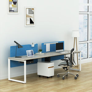 SLD Modern Style Extra Large Work Surface Two Person Workstation Computer Table Desk With Pedestal For Home Office Use