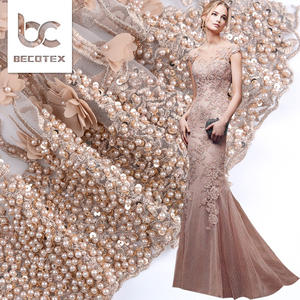 Luxury emas 3d bordir beaded gaun kain renda untuk pesta