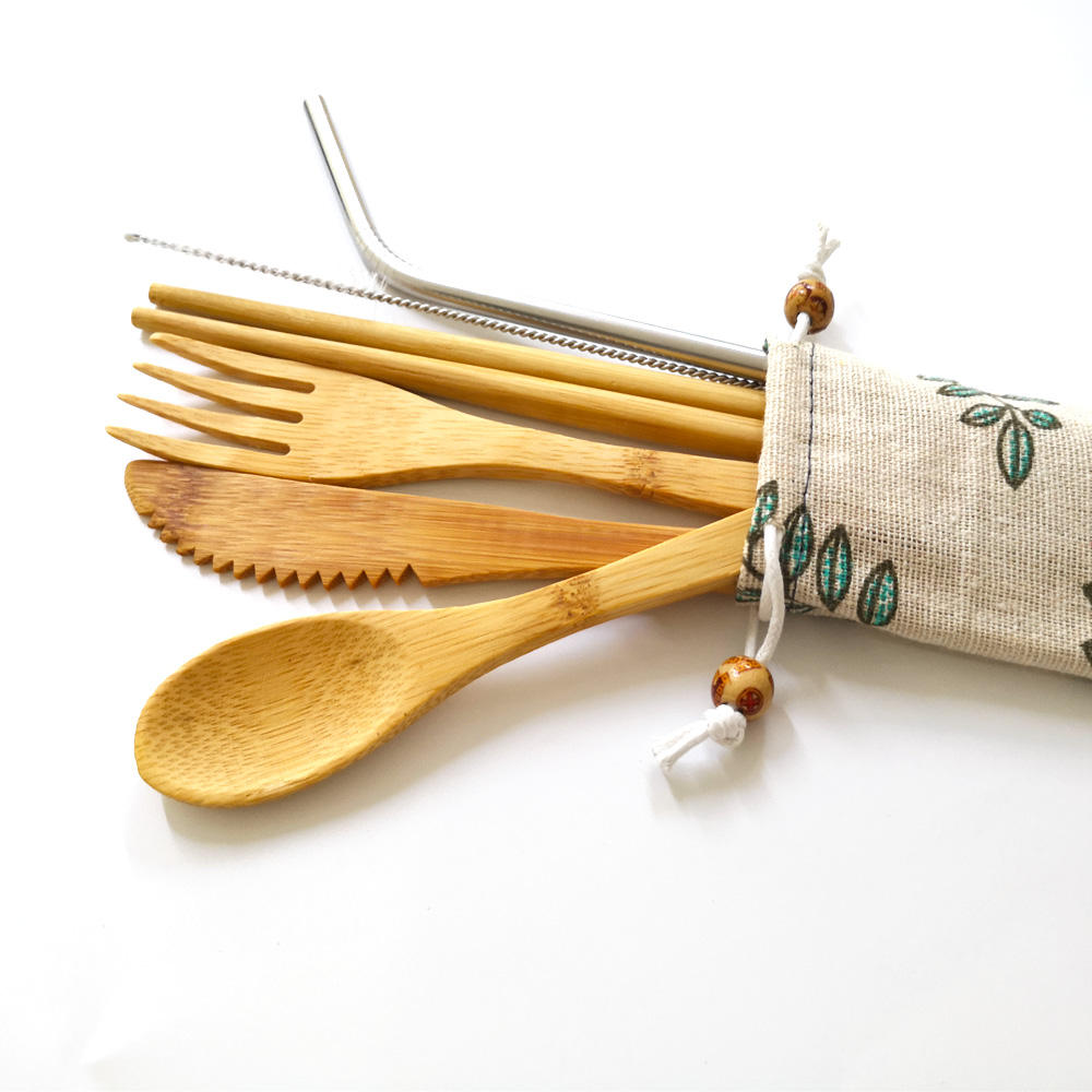 Wholesale Factory Eco Reusable Bamboo Wood Travel Utensils Cutlery Set