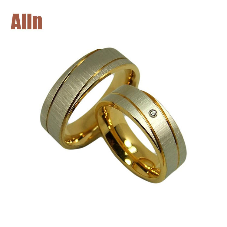 Monili di modo Classico Uomo Donna Titanio A Cupola Sabbiato Occidentale Wedding Ring Set