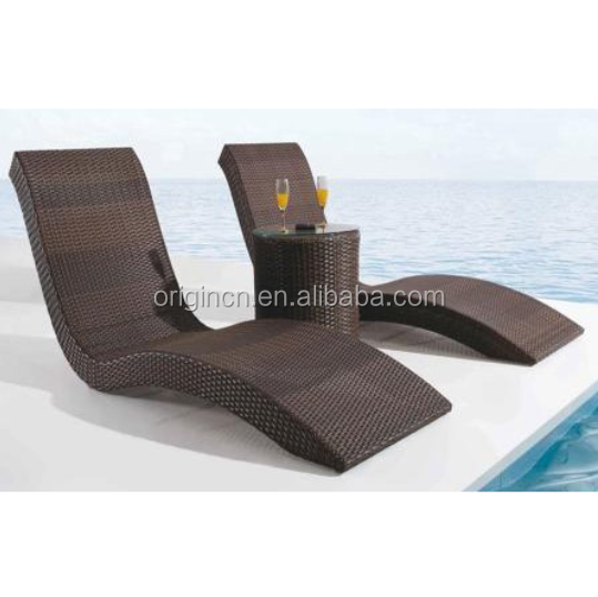 Modern s shaped pool outdoor recliner and round center table furniture rattan plastic beach bed