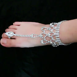 Crystal Rhinestone Barefoot Beach Foot Toe Ring Anklets Jewe