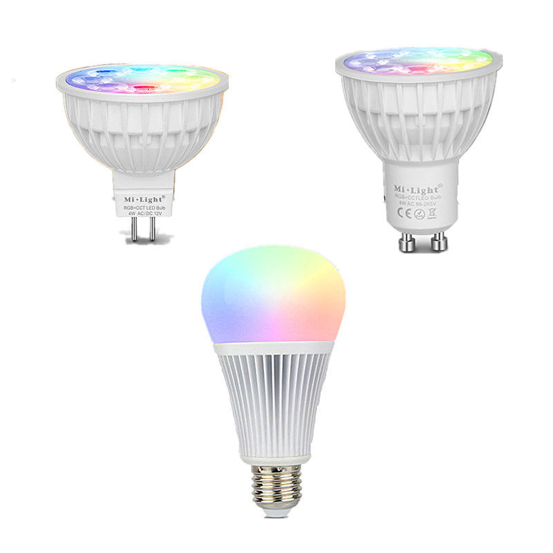 2.4G 4 W RGB + Wit/Warm Wit <span class=keywords><strong>GU10</strong></span> Led Lamp + 2.4G Remote + WIFI Controller