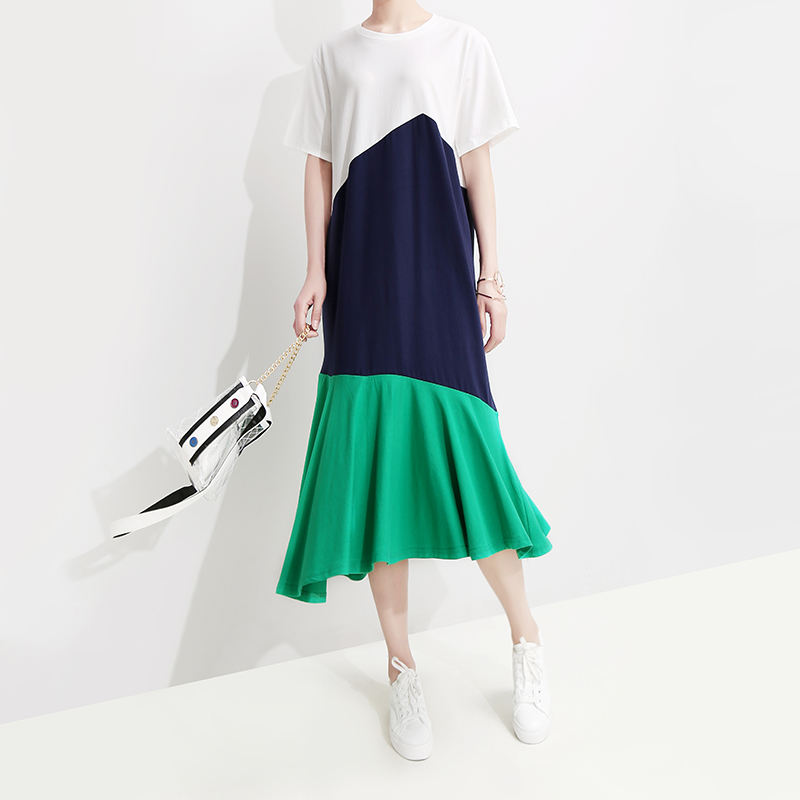 ##2019 Women Clothing Korean Style Women Summer Midi Patchwork Dress Short Sleeve Female Casual Knee Length Ruffle Swing Dresses