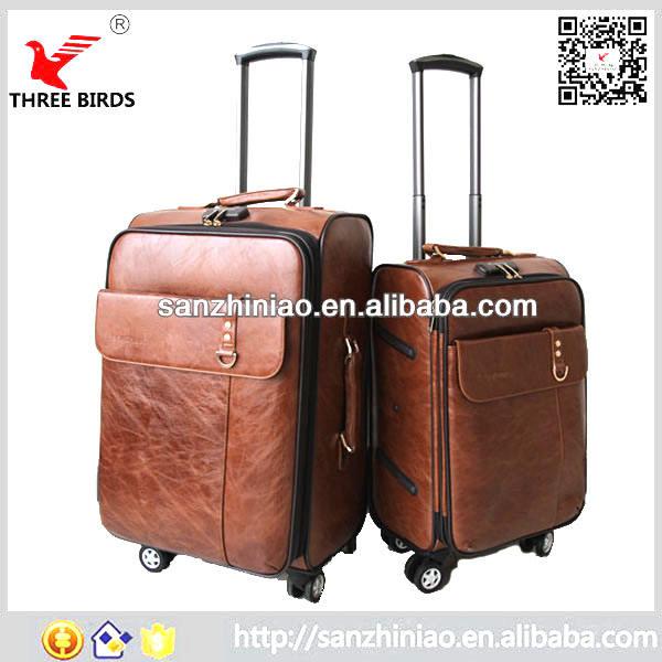 Trung quốc nhà máy deaign trường da hành lý xe đẩy túi