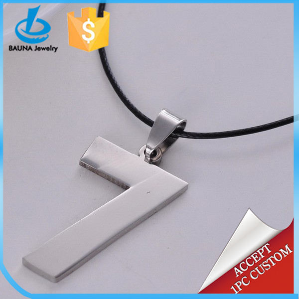 Silver lucky stainless steel block number 7 pendant necklace
