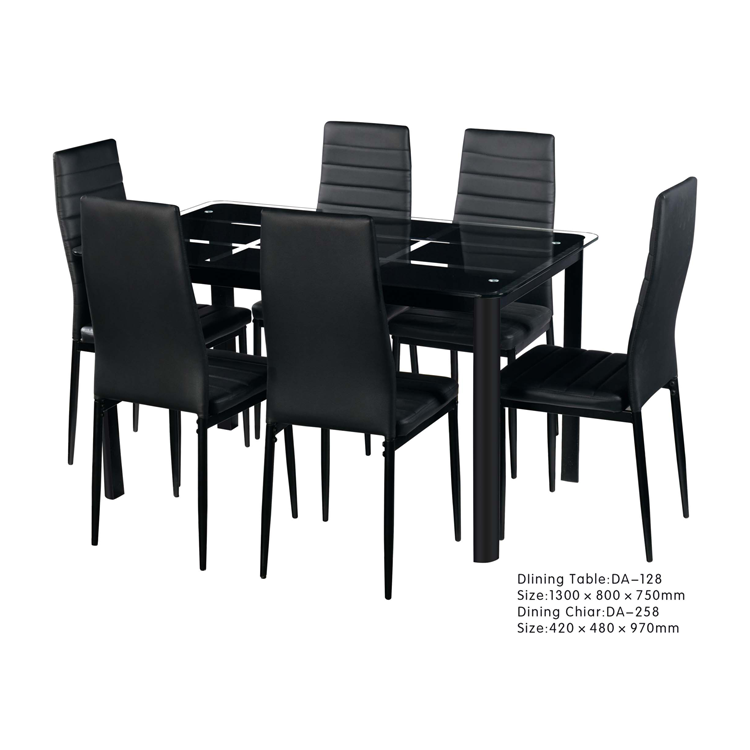 Free Sample High Quality Glass Top Banquet Dining Table and Chairs Set Modern Black 6 Seats Solid for Dining Room Set