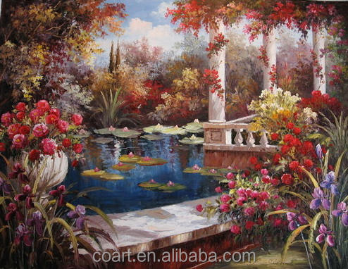 Framed Reproduction Garden Beautiful Landscape Oil Painting for Canvas Art