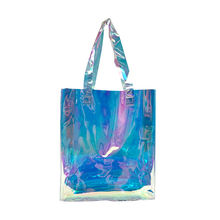 Wholesale Custom Women Clear Transparent Shoulder Bag Laser Hologram PVC Shopping Tote Bag Lady