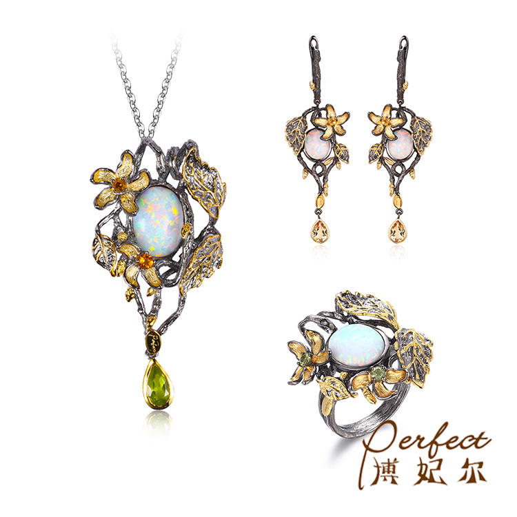 이탈리아어 금 Plated 합성 Opal 925 Sterling Silver Jewelry Gift Set 대 한 Women