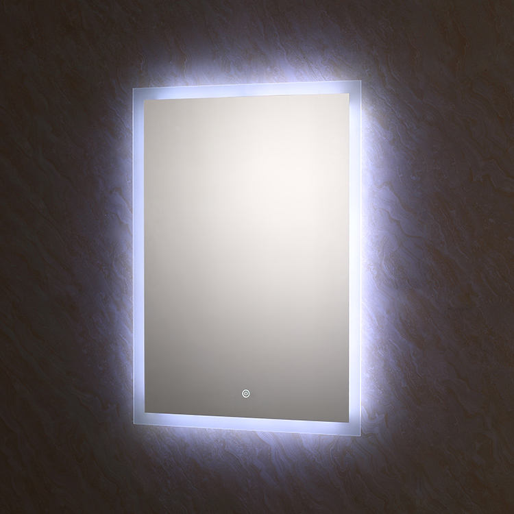 Modern bathroom LED light mirror illuminating mirror with touch sensor switch for hotels