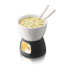 High Quality Black and White Ceramic Cheese Fondue Set