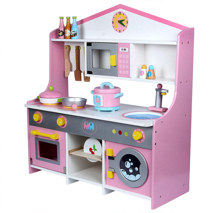 The New child Japanese-style simulation Kitchen Children's house gas stove wooden kitchen Pretend Play Toy Set