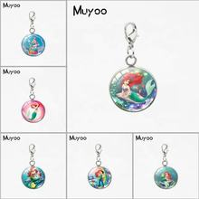 Beauty Little Mermaid Ariel Princess Design Round Charm with Lobster Buckle Sweet Lovely Mermaid Jewelry Car Bag Accessories