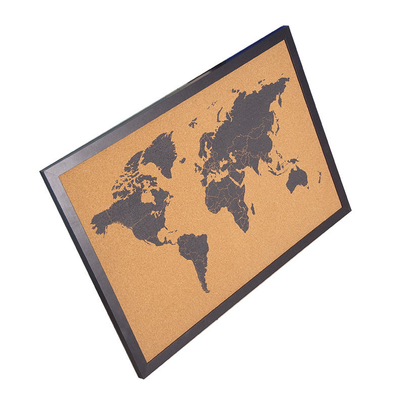High Quality Decorative Soft Bulletin Custom World Map Printed Cork board with Wooden Frame