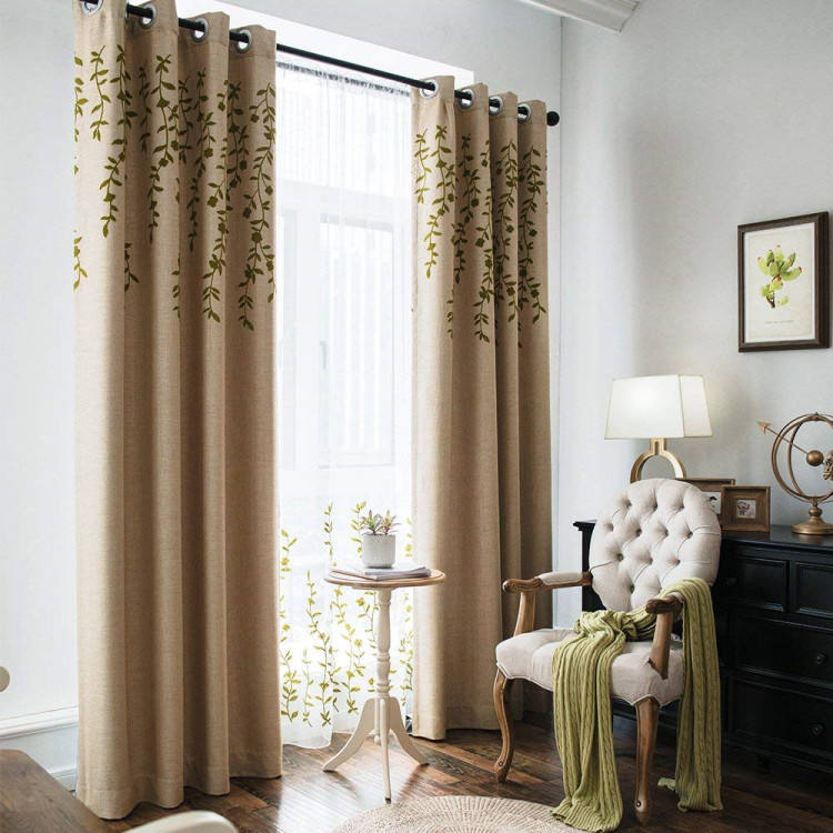 Wholesale embroidery curtain for the living room, China supplier high quality embroidery home window curtain